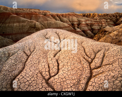 Eroded and cracked rock and mud formations. Badlands National Park. South Dakota formations. - Stock Photo