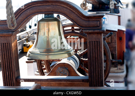 Bell on Tall Sailing Ship in Harbour of San Diego California USA - Stock Photo