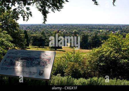 Panorama view vista across grade 1 listed Richmond Park and beyond London England Europe - Stock Photo