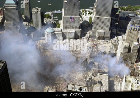 An aerial view of the destruction by terrorists of the World Trade Center September 15, 2001 in New York City. The - Stock Photo