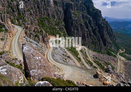 Winding Road called Jacobs Ladder up to Ben Lomond National Park. - Stock Photo