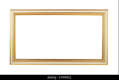 Wooden frame with golden elements for paintings or photographs isolated. Clipping path included/ - Stock Photo