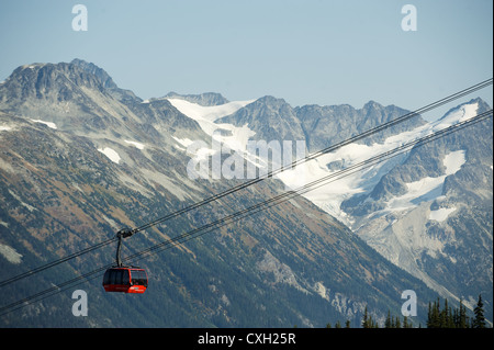 The Whistler Peak2Peak Gondola.  Top of Whistler Mountain, Whistler BC, Canada  The gondola goes from the top of - Stock Photo