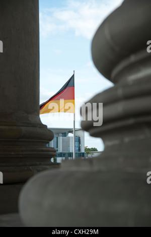 German national flag with Bundeskanzleramt german Chancellery, Berlin, Germany, Europe - Stock Photo
