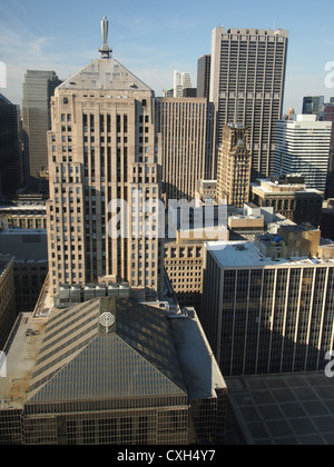 View of Chicago Skyscrapers from 40th Story Hotel Window - Stock Photo