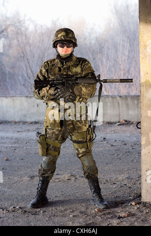 Dangerous guy with a rifle - Stock Photo