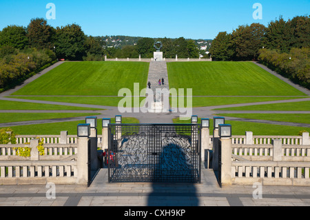 Vigeland Park central walkway with statues by Gustav Vigeland in Frognerparken park Frogner district Oslo Norway - Stock Photo