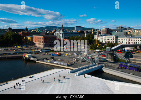 Kirsten Flagstads Plass outside Operahuset the Opera House in Bjorvika district Sentrum central Oslo Norway Europe - Stock Photo