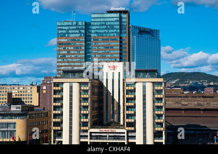 Thon Hotel Opera and other highrisde buildings outside main railway station Bjorvika district Sentrum central Oslo - Stock Photo