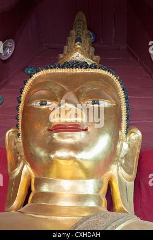 Buddha Image (Detail), Wat Bupparam, Chiang Mai, Thailand - Stock Photo