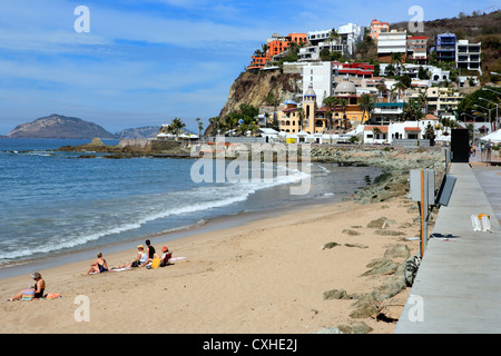 Beach on Pacific ocean, Mazatlan, Sinaloa, Mexico - Stock Photo