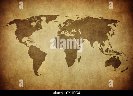 vintage map of the world - Stock Photo