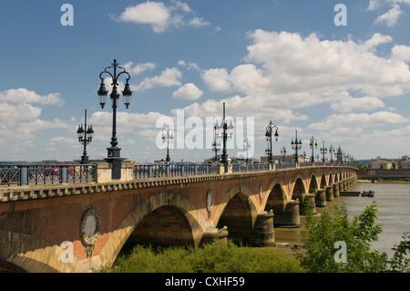 Pont de pierre, Bordeaux, France - Stock Photo