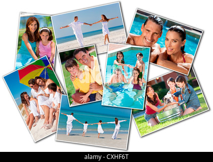 Happy attractive family montage of mother father and two children girl boy on holiday vacation at the beach in a - Stock Photo