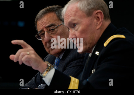 Secretary of Defense Leon E. Panetta and General Martin Dempsey, chairman of the Joint Chiefs of Staff brief the - Stock Photo