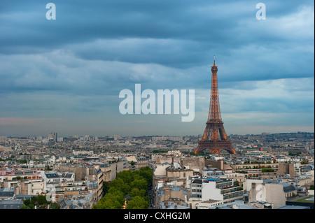 Panorama of Paris at dusk - Stock Photo