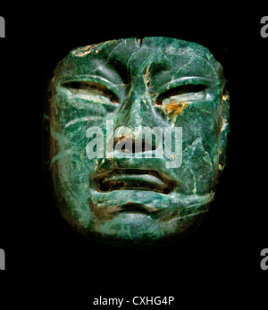 Olmec mask Jade Mask 10th–6th century BC Mexico, Mesoamerica Olmec Jadeite 17.1 x 16.5 cm - Stock Photo