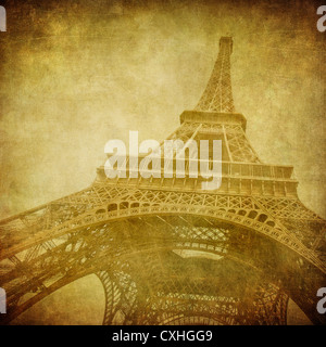 Vintage image of Eiffel tower, Paris, France - Stock Photo