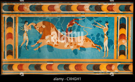 The Bull Leaping 1425-1300 B.C Minoan Fresco Great Palace  Knossos Crete Greece Reproduction by Emile Gilliéron - Stock Photo