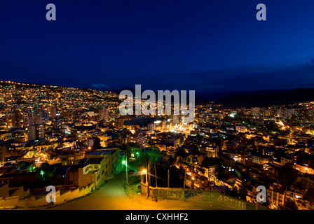 Panorama of night La Paz, Bolivia - Stock Photo