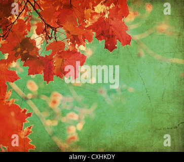 grunge background with autumn leaves - Stock Photo