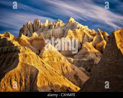 Eroded rock formations. Badlands National Park. South Dakota - Stock Photo