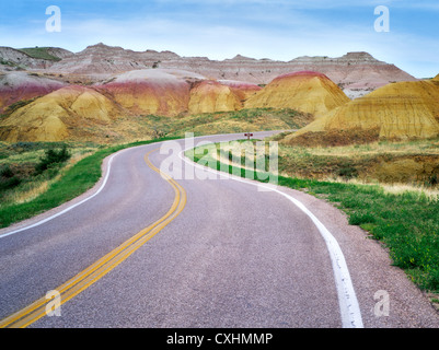 Road in Badlands National Park, South Dakota. - Stock Photo