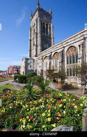 Summer Flowers at the Church of St Peter and St Paul at Cromer Norfolk England - Stock Photo