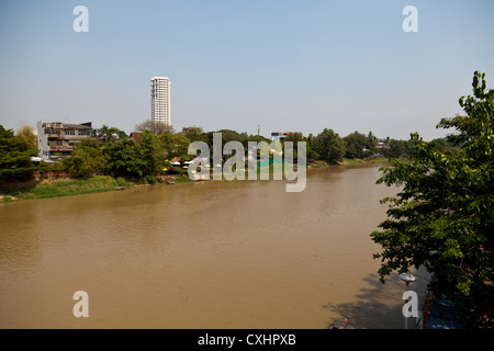 View over the River Maenam Ping in Chiang Mai in Thailand - Stock Photo