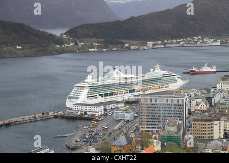 Beautiful views of Alesund in the Norwegian fjords on a rainy and cloudy day. - Stock Photo