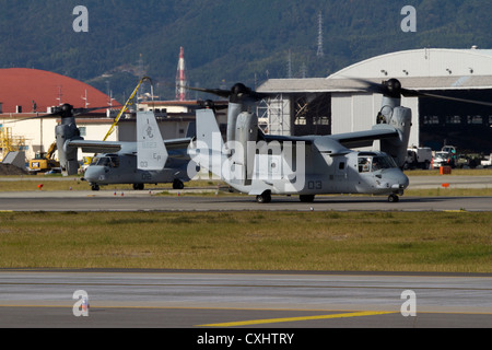 Marine Tiltrotor Squadron 265 MV-22B Osprey aircraft taxis down a runway aboard Marine Corps Air Station Iwakuni, - Stock Photo
