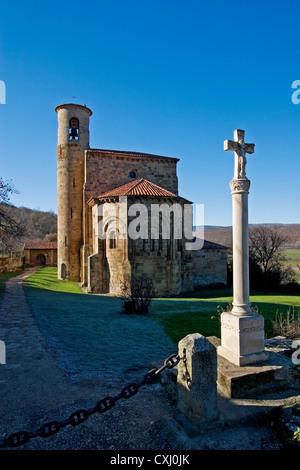 collegiate church San Martin Elines Valderredible region Cantabria Spain colegiata romanica de san martin de elines - Stock Photo