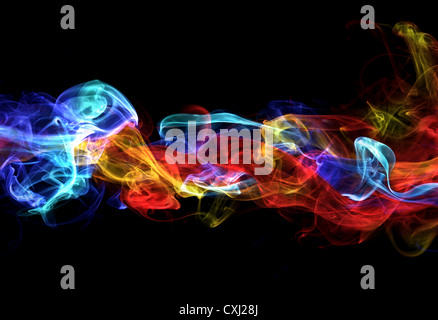 Red and blue smoke - Stock Photo