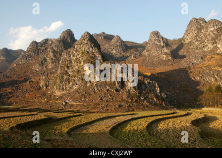 Limestone mountains and  valley, Dong Van, Ha Giang, Vietnam - Stock Photo
