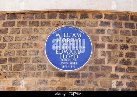 William Morris blue plaque in Walthamstow, London, England - Stock Photo
