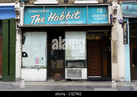 The closed Hobbit newsagent in Wardour Street, Soho in central London. - Stock Photo