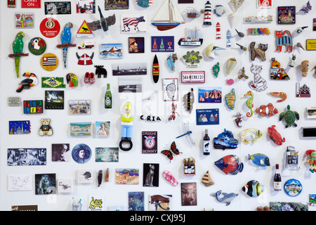 Fridge Magnet collection, showing magnets from around the world. Vertical version also - Stock Photo