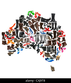 Australia continent made of woman shoes - Stock Photo