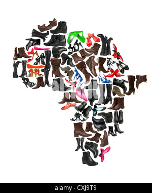 Africa continent made of woman shoes - Stock Photo