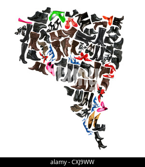 South America continent made of woman shoes - Stock Photo