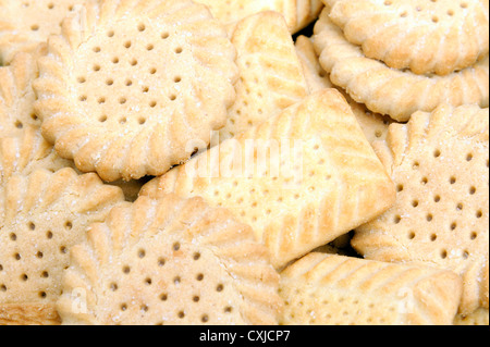 Shortcake biscuits. Tin of shortbread biscuits. - Stock Photo