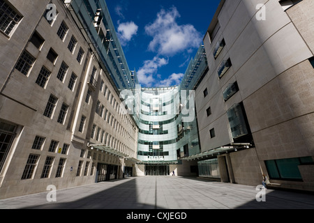 Looking into the new / modern broadcast centre extension of the BBC Broadcasting House building in Portland Place, - Stock Photo
