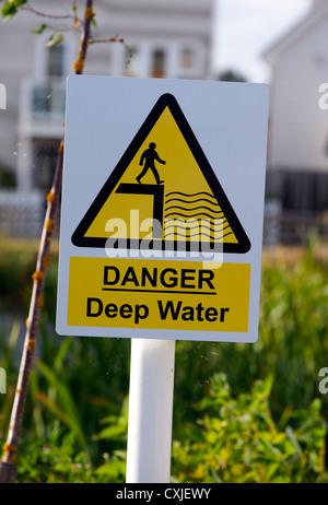 Danger deep water sign in Rye, East Sussex, UK - Stock Photo