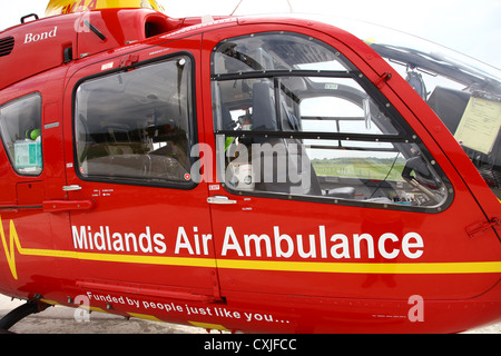 A Eurocopter EC135 helicopter used by the East Midlands Air Ambulance service - Stock Photo