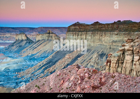 Buttes and rocks around Smoky Mountain Road at Kelly Grade, sunrise, Grand Staircase Escalante National Monument, - Stock Photo