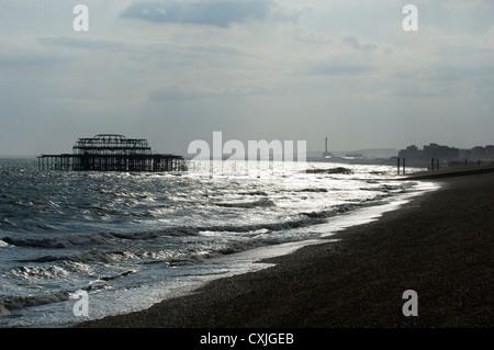 west pier; brighton, sussex; england; uk; europe - Stock Photo