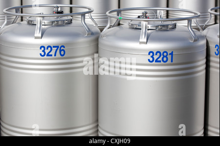 Stainless steel containers used in dairy product production line , Finland - Stock Photo