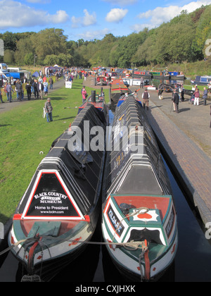 Dudley Canal at Parkhead Locks, during Parkhead Festival, Dudley Canal, Dudley, West Midlands, England, UK - Stock Photo