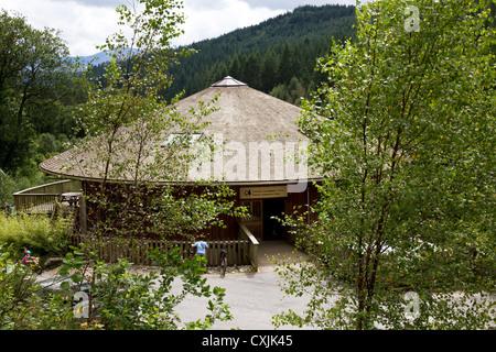 Visitors Centre at Coed y Brenin  Forest Park, Dolgellau, Gwynedd, Snowdonia, North Wales, UK - Stock Photo