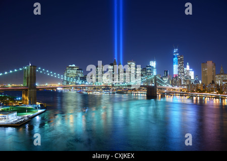 Tribute in Light in Downtown New York City in remembrance of the 9/11 attack. - Stock Photo